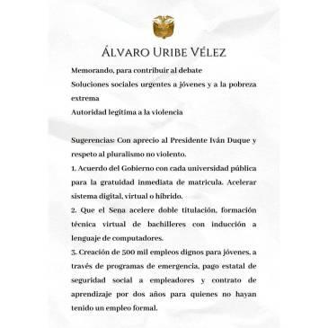 $!Primera parte de la carta de Uribe a Duque enviada esta tarde. FOTO: Cortesía