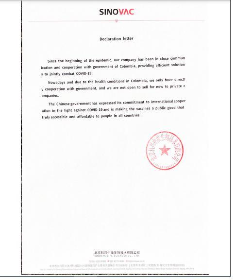 Sinovac, otra farmacéutica que cerró las puertas a vender vacunas a privados