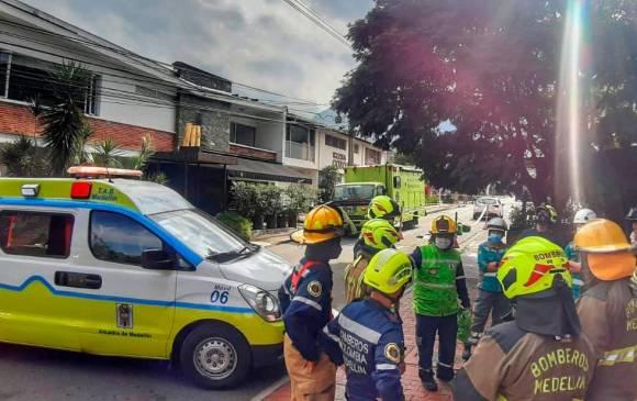 El incidente se presentó en una construcción en El Poblado. FOTOS DAGRD