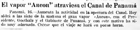 Canal de Panama 17 ago 1914