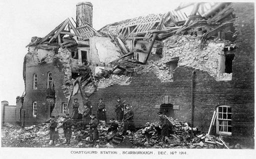 Estación de la Guardia Costera de Scarborough, 1914. Imagen Tomada de http://www.historyofwar.org/Pictures/pictures_scarborough_coastguard_1914.html