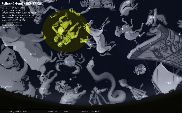 Así se verá la constelación de Géminis, a las 11:23 pm del próximo 13 de diciembre, sobre el cielo de Medellín
