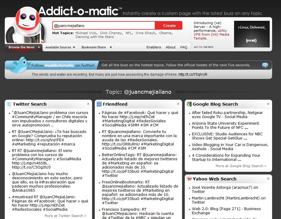 Addictomatic.com Monitoreo gratuito de Social Media