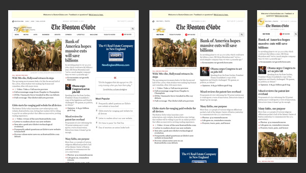 Boston Globe ejemplo de Responsive Web Design