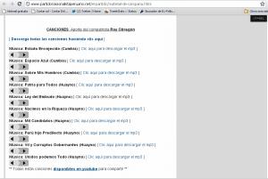 El site de descargas del portal de Ollanta Humala ofrece la oportunidad de descargar canciones populares a emisoras comunitarias del Perú.