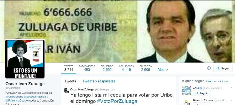 Parodia de la cuenta de Óscar Iván Zuluaga.