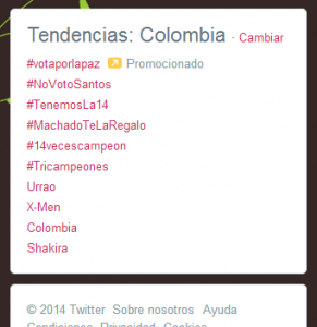 Tendencia paga vs. tendencia genuina, mayo 22 de 2014.