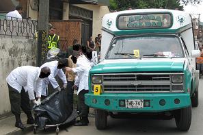 Escena del crimen del bus en Caldas.