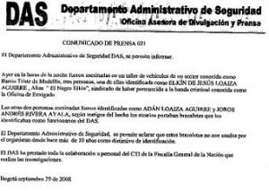 El comunicado del DAS.