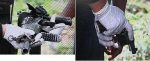 Las armas implicadas en el intercambio de disparos.