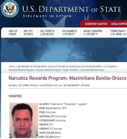 Así publicó el Departamento de Estado de E.U. la notificación de recompensa contra 'Valenciano'.