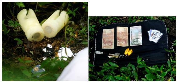 Varios de los objetos hallados alrededor de la mujer.