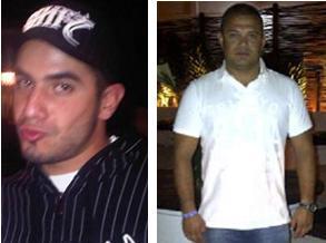 De izquierda a derecha, los secuestrados: Jonatan Orlando Zapata Gañán, comerciante de lociones residente en Medellín; y Juan Camilo Úsuga Lopera, habitante de Las Cabañas (Bello) y conductor de la familia que organizó el paseo a la finca.