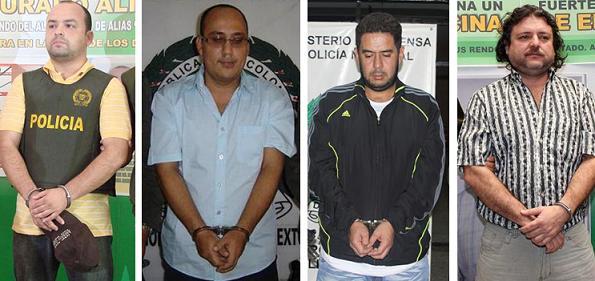De izquierda a derecha: alias 'Cesarín', 'Riñón', 'Bolillo' y 'El Cebollero'.