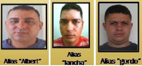 Así figuraban en el cartel de los más buscados, los tres capturados de la banda 'Pachelly'.