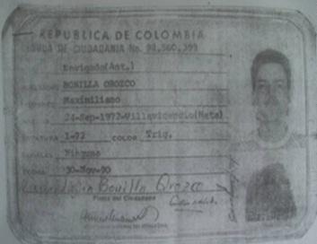 Esta es la cédula colombiana de Bonilla Orozco, quien nació en Villavicencio, Meta.