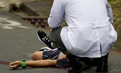 Así fue la escena del crimen en Calasanz, luego del asesinato del menor de edad. Foto de Esteban Vanegas.