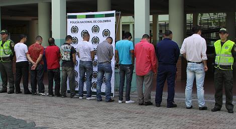 Estos son los 10 capturados en la 'Operación Aguasfrías'. Cortesía Policía.