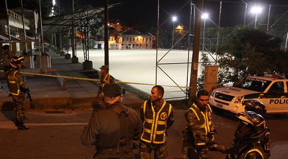 Esta es la cancha donde se presentó el crimen. Todas las víctimas fueron llevadas a hospitales, donde cinco murieron. Foto de Róbinson Sáenz.