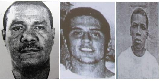 Tres jefes de 'La Terraza', de izquierda a derecha: 'El Negro' Elkin, 'El Zarco' o 'San Pedro' y 'Gorra'. Cortesía de la Fiscalía.
