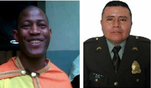 A la izquierda está el patrullero Caicedo, de la Sijín; a su lado, el patrullero Gil, del Departamento de Policía Antioquia. Fotos de cortesía.
