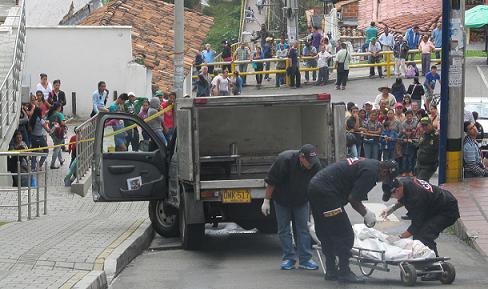 Escena del crimen en San Cristóbal, donde la víctima fue David Jiménez, abaleado cuando buscaba a su hermano. Foto de Guillermo Benavidez.