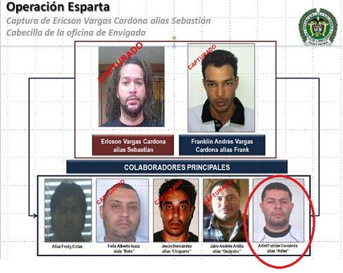 """Organigrama de Inteligencia Policial sobre la estructura de mando de alias """"Sebastián"""", en la cual aparece """"Adiel"""". Solo falta por capturar """"Fredy Colas"""". Cortesía."""