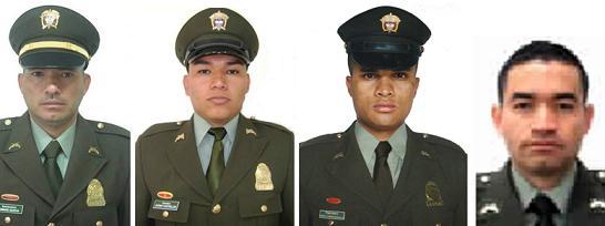 De izquierda a derecha, los fallecidos intendente García y patrullero Castrillón, y los heridos patrulleros Carrasquilla y García. Fotos de cortesía.