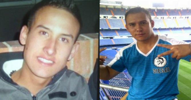 """A la izquierda está el desaparecido Germán Uribe, """"Nikel"""", de 22 años. A su lado, el herido John Jairo Echeverry, """"Neil"""". Fotos de cortesía."""