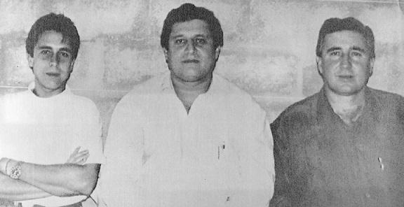 Foto de 1991 en la cárcel de Itagüí, donde estuvieron recluidos los hermanos Ochoa Vásquez. De izquierda a derecha: Fabio, Jorge Luis y Juan David. Archivo El Colombiano.