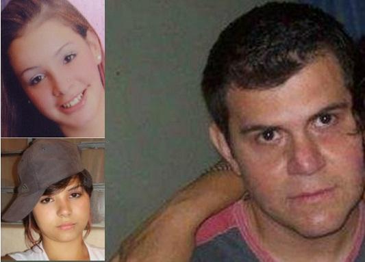 Las víctimas, Katherine (arriba) y Cindy. Al lado, la imagen de Sergio Hurtado difundida en internet. Cortesía.