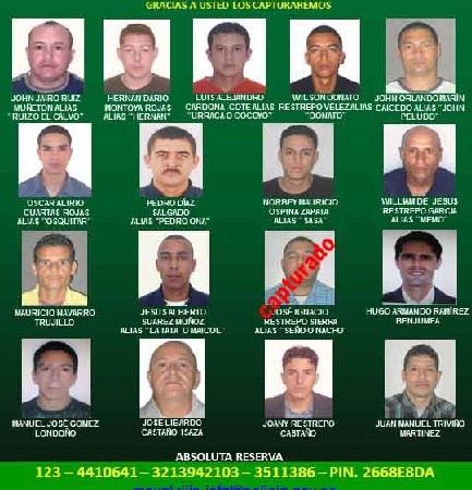 La Policía ofrece recompensas por información que ayude a capturar a estas personas. Cortesía Policía.