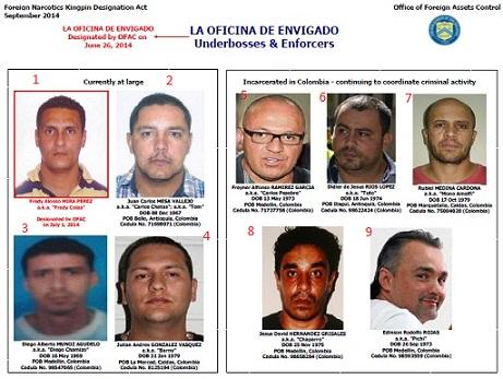 """Cabecillas de """"la Oficina"""" en la Lista Clinton: 1) """"Fredy Colas"""". 2) """"Carlos Chata"""". 3) """"Diego Chamizo"""". 4) """"Barny"""". 5) """"Carlos Pesebre"""". 6) """"Tuto"""". 7) """"Mono Amalfi"""". 8 ) """"Chaparro"""". 9) """"Pichi Gordo""""."""