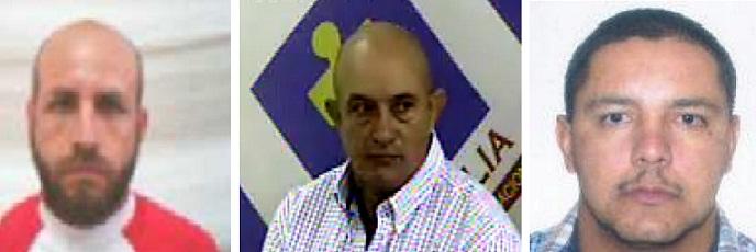 """De izquierda a derecha: Édgar Gutiérrez, alias """"Leche""""; Octavio Cartagena, """"don Gabriel""""; y Juan Carlos Mesa, """"Tom"""". Cortesía."""