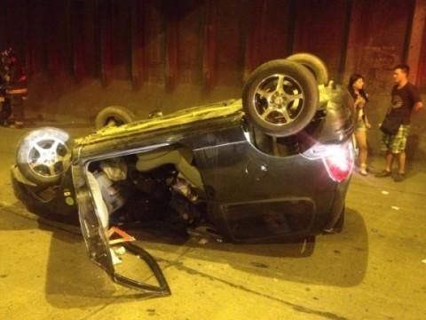 Este es el carro en el cual viajaba la pareja bogotana. Así quedó después del accidente. Foto de cortesía.