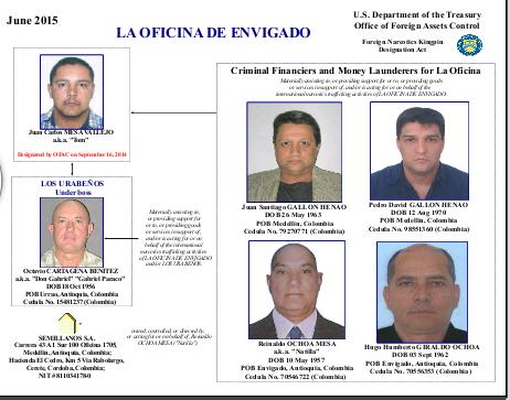 """Este es el organigrama la Ofac, que incluyó en la Lista Clinton a """"Tom"""" (desde 2014) y ahora a """"don Gabriel"""", """"Natilla"""", los hermanos Gallón Henao y Hugo Giraldo. Cortesía."""