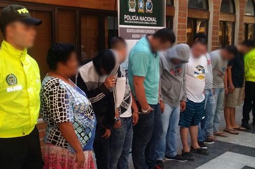 """Estos son los detenidos en la operación de la Dijín contra """"la Terraza"""". Cortesía Policía."""