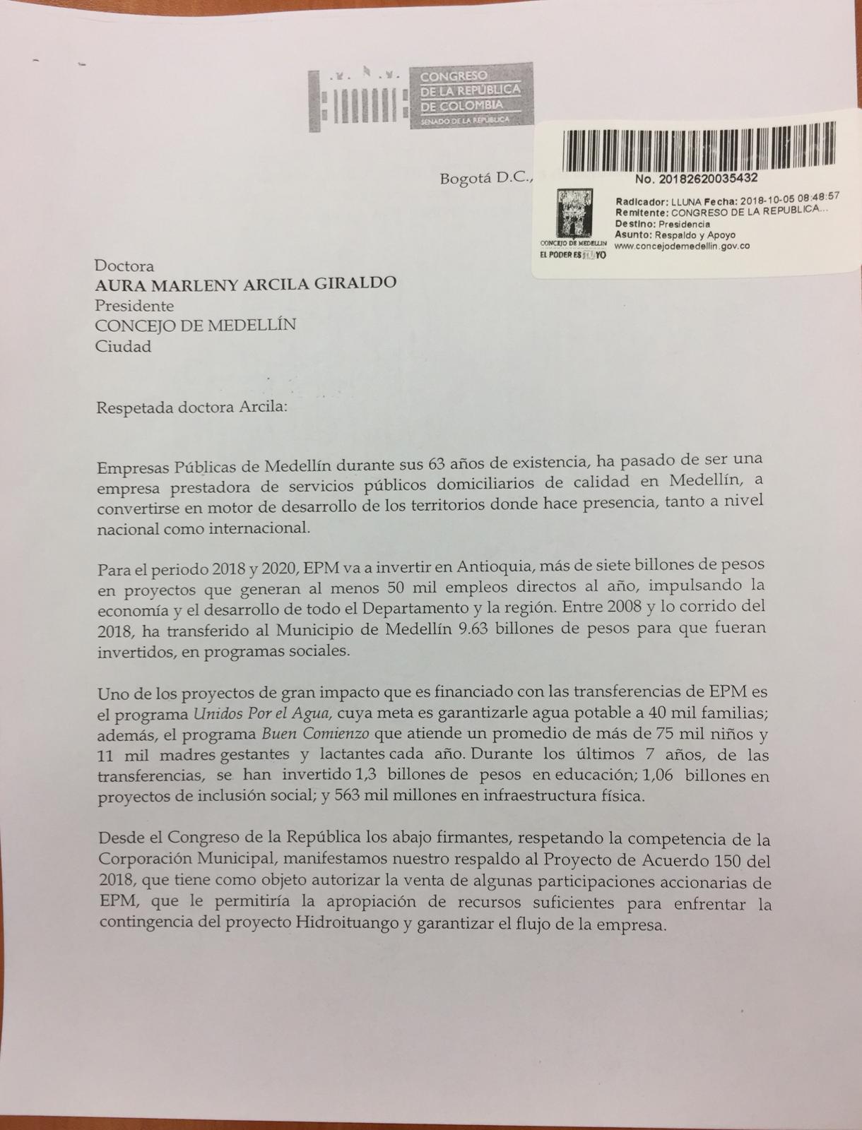 Congresistas apoyan venta de acciones de EPM