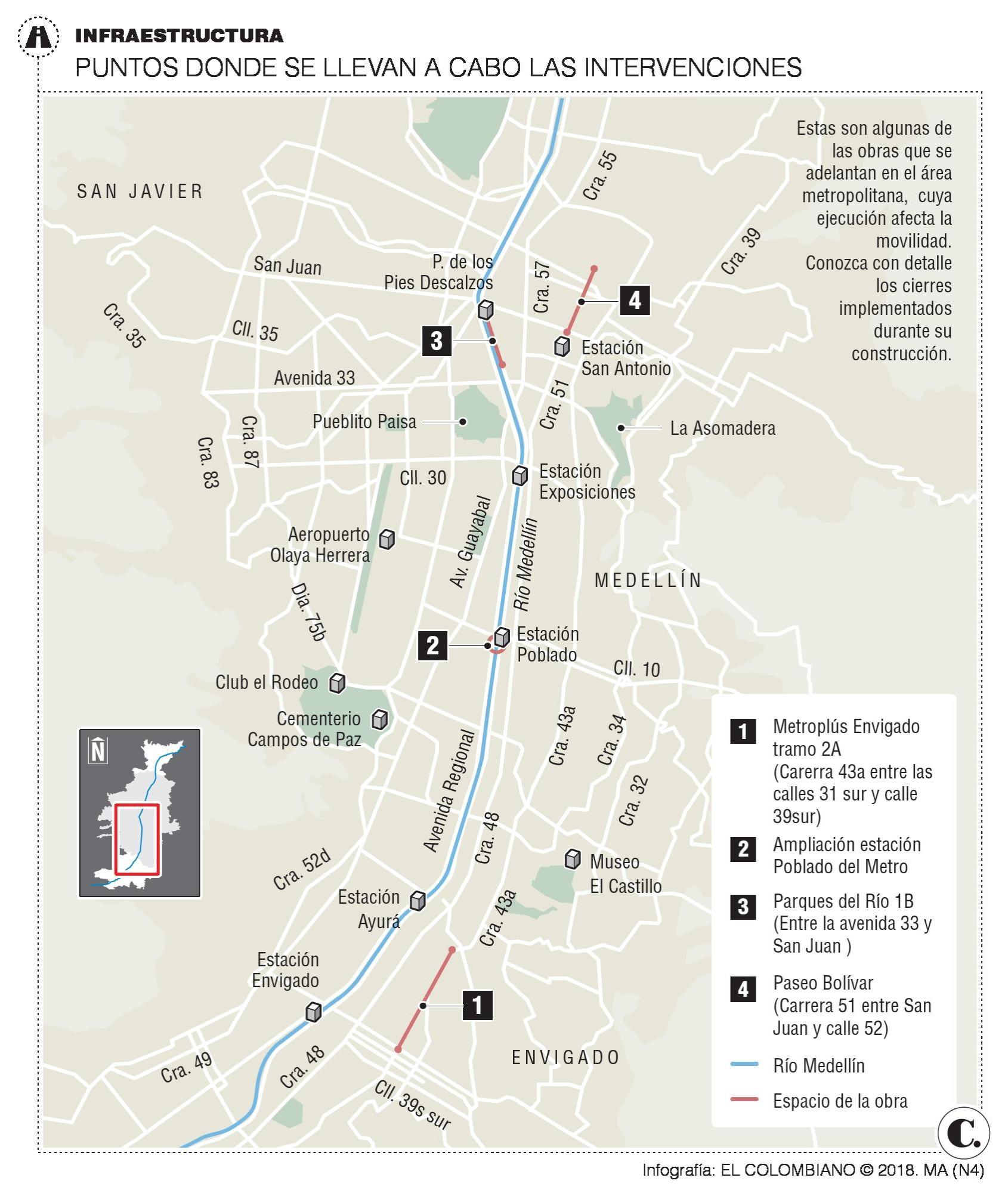 Obras viales en Medellín y el Valle de Aburrá