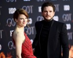 Rose Leslie y Kit Harington en el estreno de Game of Thrones. FOTO AFP