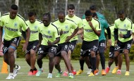 En un buen ambiente y acoplándose al estilo de trabajo del técnico Reinaldo Rueda, los jugadores de Nacional trabajan con intensidad. Las competencias están muy cerca. FOTO Jaime Pérez