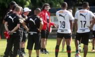 Entrenamiento del Deportivo Independiente Medellín en la cancha de Sofasa. Personajes Foto: Manuel Saldarriaga Quintero