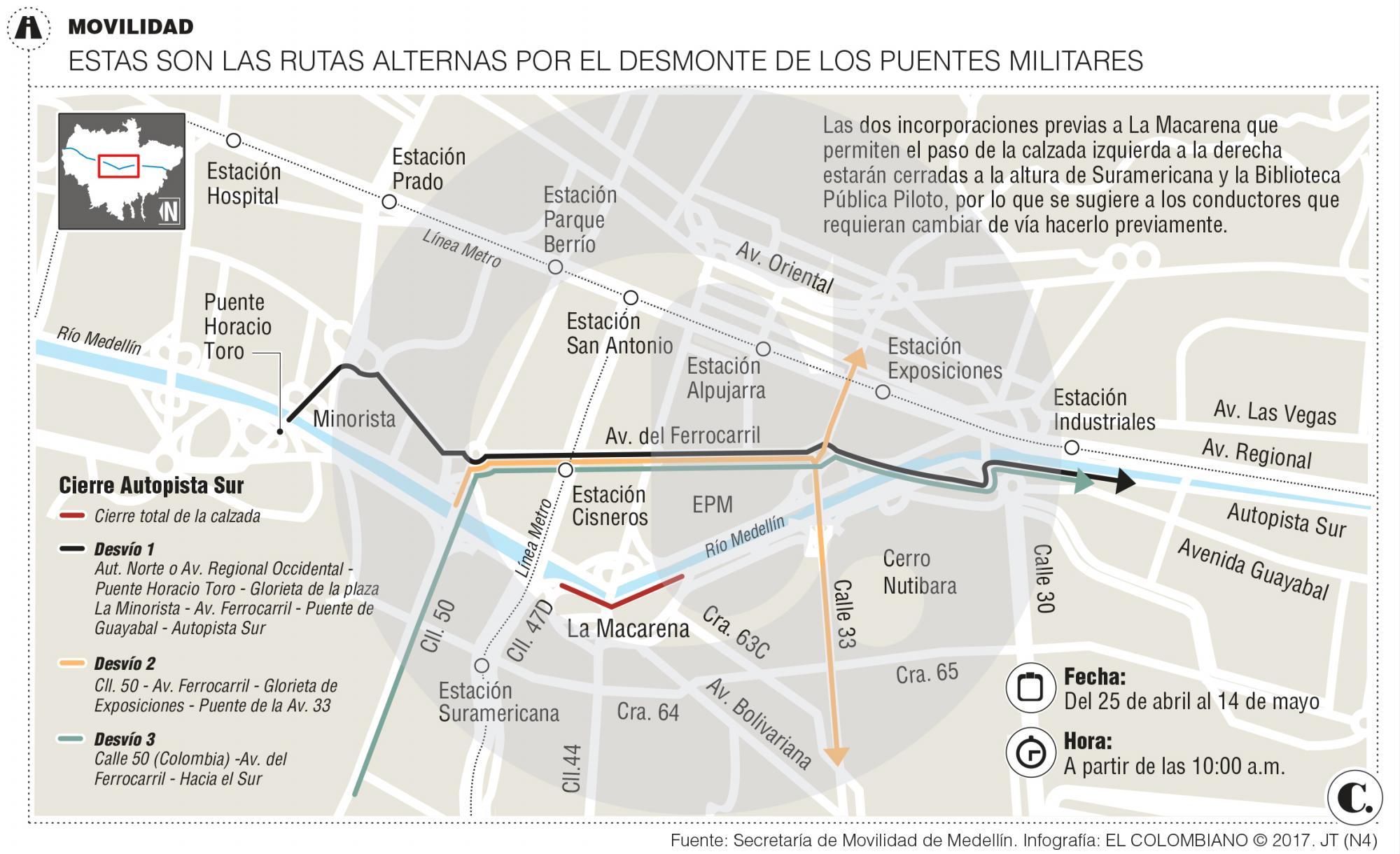 En 480 horas el Ejército desarmará los dos puentes militares sobre el río Medellín