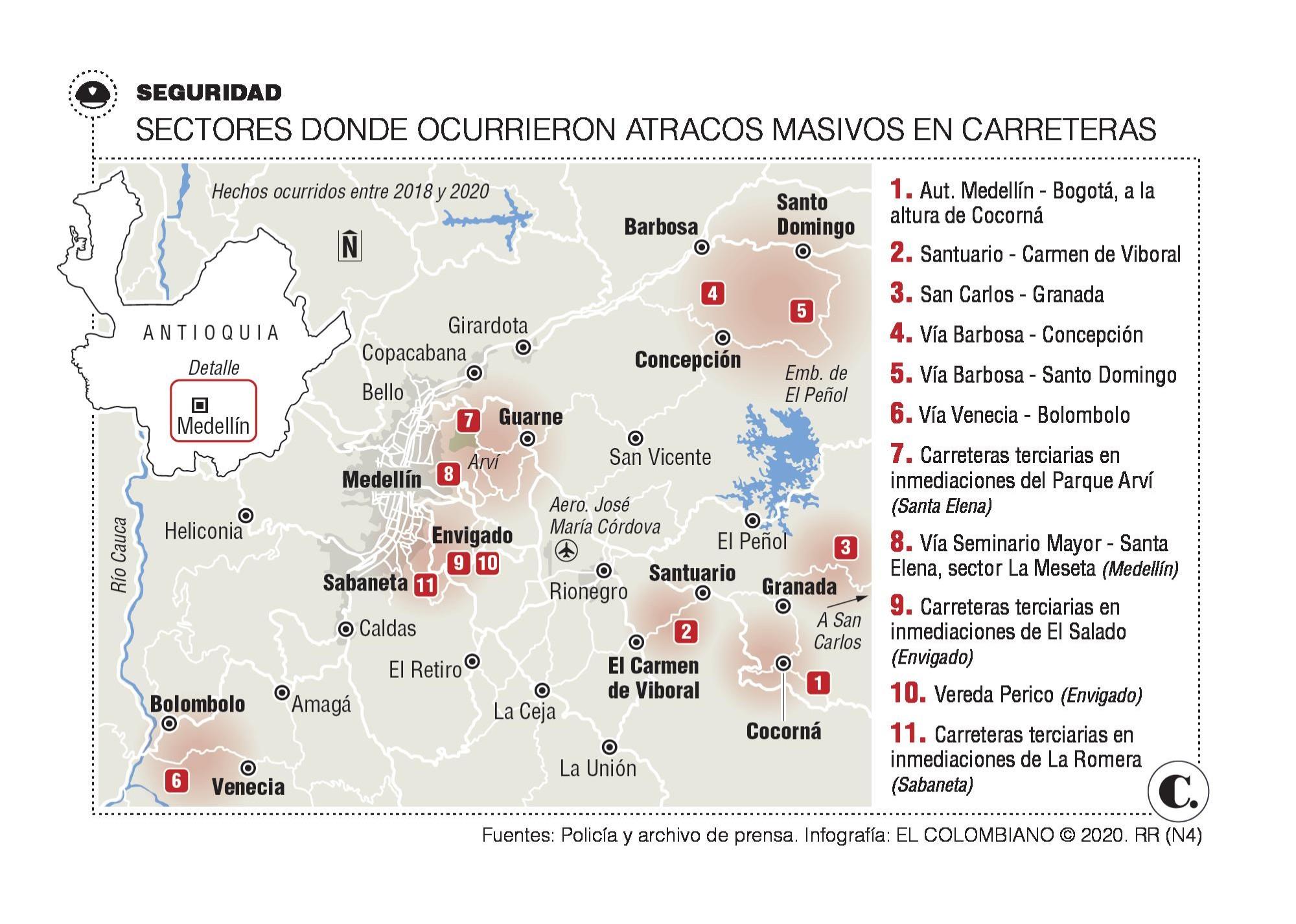 Investigan robos masivos en ejes viales de Antioquia