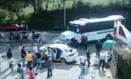Siete personas heridas es el saldo de un accidente que se presentó en la mañana de este domingo en la vía Rionegro-La Ceja. FOTO MIORIENTE
