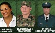 El general Rubén Darío Alzate y sus dos acompañantes la abogada Gloría Urrego y el cabo Jorge Rodríguez Contreras. FOTO CORTESÍA