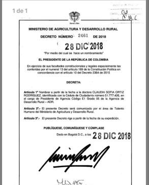 Imagen del decreto presidencial con el nombramiento.
