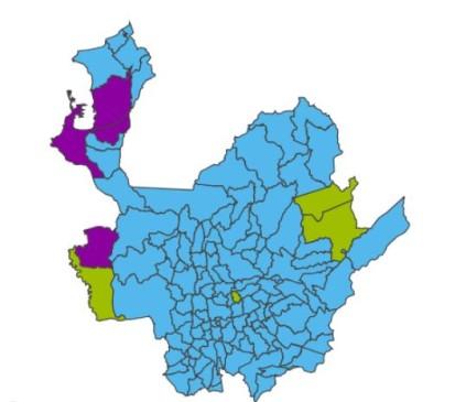 Así quedó el mapa electoral en Antioquia en primera vuelta. El azul representa a Iván Duque, el verde a Sergio Fajardo y el morado a Gustavo Petro. FOTO REGISTRADURÍA.