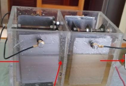 Este es una vista frontal de un prototipo que se instala en el vehículo. En la parte derecha se deposita la orina y en la izquierda el agua. En medio de estas hay un sistema de membrana. FOTO LA PATRIA