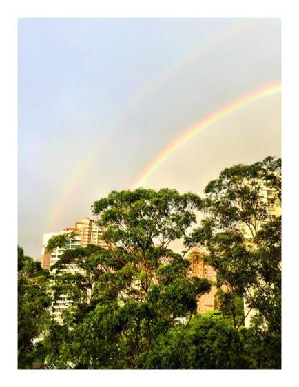 La fría y lluviosa tarde que soportaron los habitantes, y turistas, este martes 2 de enero en Medellín, se vio recompensada por un colorido arcoíris que se pudo disfrutar desde varios puntos del sur del Aburrá. FOTO Twitter @mariaaarbelaez